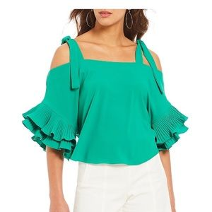 Tie Shoulder Pleated Tiered Bell Sleeve Blouse